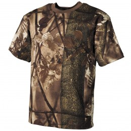 T-shirt feuillage marron chasse